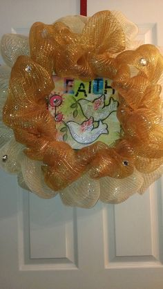 Faith Inspired Two Tone Gold Deco Mesh Wreath by MisSuenos on Etsy, $39.00
