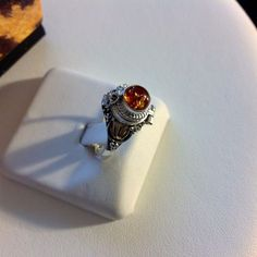Amber Poison Ring-Solid Sterling Silver 925-Secret Compartment-Locket-Opens #Handmade #Poison
