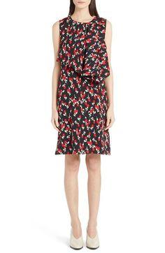 MARNI Drape Front Floral Print Sleeveless Shift Dress. #marni #cloth #