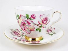 Vintage Bone China Tea Cup & Saucer Pink & White Flowers Gold Trim Old Royal