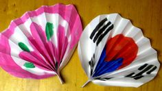two korean paper fans