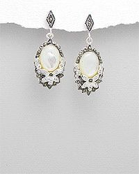 Vines of Jewels - Exquisite Marcasite, Shell, Crystal & Sterling Silver Earrings. vinesofjewels.com