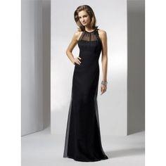 Sheath Jewel Chiffon Long Black Bridesmaid Dress
