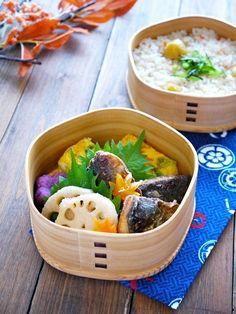 Fried Horse Mackerel, omelette, lotus root, potato salad, and chestnut rice.