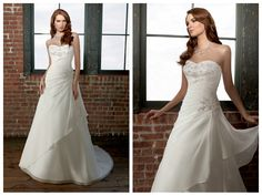 BEADED BUST ACCENTS BODICE A-LINE LUCKY WEDDING DRESS
