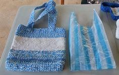 Bolsa tejida con tiras de bolsas plásticas post-consumo