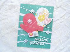 Warm Wishes card by Ashwini for Paper Smooches - Mitten Die, Warm Wishes Die, Snow Drifts Dies, Winter Sampler