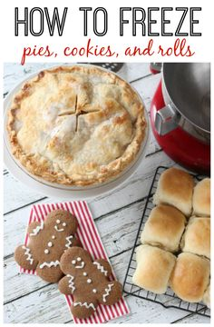 Tips and tricksfreeze pies for making and freezing baked goods. How to freeze pies, cookies and rolls. This especially comes in handy during the holidays! Bake a variety of treats in one day and freeze for parties and family dinners! Frozen Cookie Dough, Frozen Cookies, Freezer Cooking, Freezer Meals, Cooking Tips, Freezable Meals, Frugal Meals, Cheap Meals, Baking Recipes
