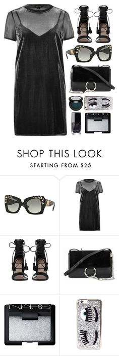 """Date Night"" by smartbuyglasses ❤ liked on Polyvore featuring Versace, River Island, Zimmermann, Chloé, NARS Cosmetics, Chiara Ferragni and black"