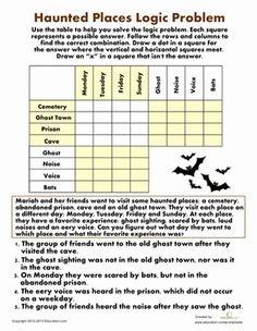 Worksheet Logic Problems Worksheets logic problems worksheets and monsters on pinterest use your ghost hunting skills to help solve this problem about some haunted places