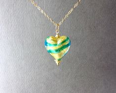 Gift for Mom Lampwork Glass Pendant on a Silver or Gold Chain