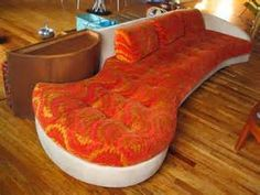 70s mod space age couch - orange crushed velvet