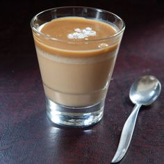Butterscotch Pudding Recipe - Grown up version of a classic made with bourbon and topped with caramel sauce and fleur de sel-Saveur.com
