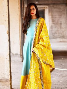 f97f5c58c3 Blue and yellow dress with dupatta by Tie   Dye Tale