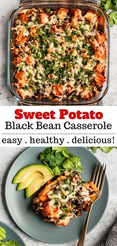 Sweet Potato Black Bean Casserole A family-friendly Mexican-inspired enchilada casserole recipe, that's as tasty as it is healthy. This Sweet Potato Black Bean Casserole is vegetarian and gluten-free, but can also be easily adapted to include meat. Tasty Vegetarian Recipes, Healthy Recipes, Casseroles Healthy, Paleo, Healthy Vegetarian Casserole, Healthy Black Bean Recipes, Vegetarian Sweets, Sweet Potato Recipes Healthy, Healthy Vegetarian Recipes