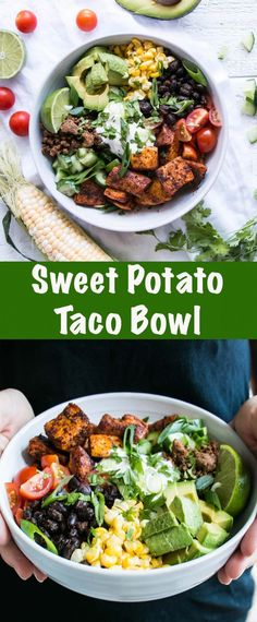 Delicious Sweet Potato Taco Bowl. A zesty sweet potato recipe that is easy to personalize. Mexican Bowl Recipe, Mexican Food Recipes, Whole Food Recipes, Vegetarian Recipes, Healthy Recipes, Lunch Recipes, Vegetable Recipes, Summer Recipes, Healthy Meals