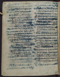 """While the text at the forefront (the upper text) of this spectacular manuscript dates from the eight century, what's hidden underneath it is much older. To produce this manuscript a fifth-century copy of Paul to the Romans was palimpsested, as well as parts of a sixth-century Gospel Book in Greek uncial letters (the blue text that is shining through)."""