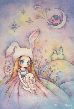 "bunnies dream on the moonlight hill ~ Juri Ueda aka ""juriu"""