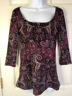 INC Size Small Blouse Top 3/4 Sleeve Scoop Neck Empire Waist Paisley Black