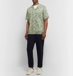 Todd Snyder + Liberty London Camp-collar Printed Cotton-poplin Shirt In Green Todd Snyder, White Tees, Collar Shirts, Poplin, Printed Cotton, Liberty, Men Casual, Camping, Mens Fashion