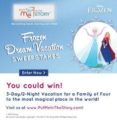 Frozen Dream Vacation Sweepstakes! Win a trip to Orlando! Ends 7/17/15 #sweeps #frozen #disney