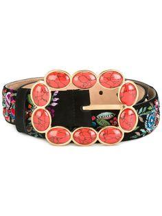 ROBERTO CAVALLI Floral Embroidered Belt. #robertocavalli #belt
