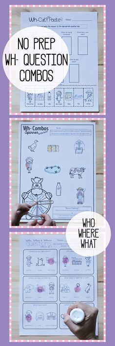 No Prep Wh- Questions Combos! Who What Where Worksheets Homework Print and Go Speech Therapy Activities, Language Activities, Speech Language Pathology, Speech And Language, Word Work Stations, Receptive Language, Wh Questions, Teaching, Worksheets