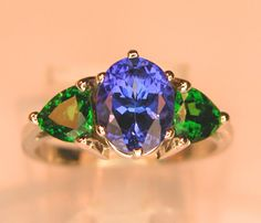 Tvasorite and tanzanite ring - mined in same place.  Spectacular.