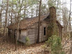 Old deserted house in woods off Old Dam Road (Alamance county, NC). The house a several nearby farm buildings just seem to have been deserted.