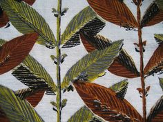 Vintage 1950s barkcloth fabric  A typical mid-century bamboo design