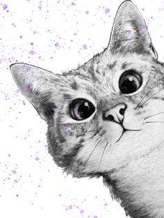 Wallpaper Iphone Disney, Cat Wallpaper, Art Drawings Beautiful, Couple Art, Cat Drawing, Cool Cats, Cat Art, Neko, Painted Rocks