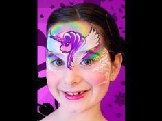 Rainbow Pegasus Unicorn Face Paint Design Tutorial