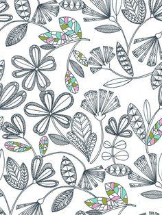 floral outline Art Print
