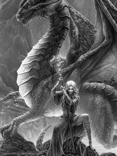 nothing like the bond between a girl and her dragon :-)  Love! this would be a great tattoo! Dragon Mage
