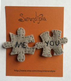 MeYou Jigsaw-Puzzle-Piece Felt Pins would be really cute made out of silver & gold Felt Diy, Felt Crafts, Diy And Crafts, Crafts For Kids, Saint Valentine, Valentines, Up Pixar, Wooly Bully, Felt Decorations