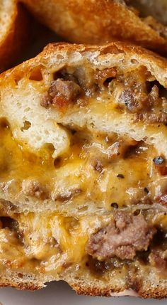 My Garbage Bread recipe is crazy delicious, perfect for a party or weeknight meal, and endlessly adaptable! It's like a Bacon Cheeseburger stromboli! Hamburger Recipes, Ground Beef Recipes, Meat Recipes, Appetizer Recipes, Cooking Recipes, Appetizers, Stuffed Bread Recipes, Velveeta Recipes, Ground Beef Calzone Recipe