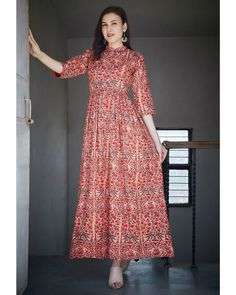 Shop online Overall printed gathered dress Enriched with all over prints, gathers at the waist and a band neck with front button closure, this dress is a modern take on ethnic styling