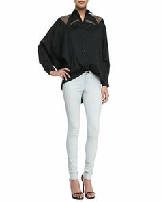 Net-Inset Oversized Shirt & Stretch Leather Jeans by Robert Rodriguez at Neiman Marcus.