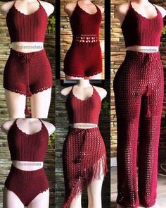 Crochet Shorts Pattern, Crochet Pants, Crochet Crop Top, Crochet Clothes, Diy Clothes, Crochet Top Outfit, Crochet Beach Dress, Knit Fashion, Fashion Outfits