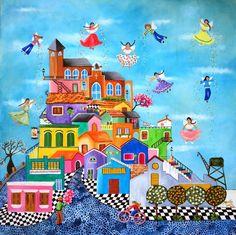 "MARILÚ SOSA   Asunción , Paraguay      ""Desde Lambaré, color y sentimientos"" (1)     MARILÚ SOSA  Marilu Sosa nace Asunción del Paraguay. ""A... Drawing For Kids, Art For Kids, Arte Popular, Naive Art, Home Art, Jigsaw Puzzles, Art Pieces, Illustration Art, Drawings"