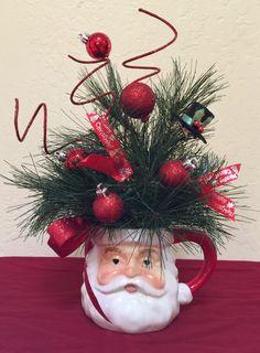 Santa Coffee Mug Artificial Pine Shatter Proof Ornaments Christmas Mugs, Rustic Christmas, Christmas Projects, Christmas Holidays, Christmas Wreaths, Christmas Ornaments, Christmas Flower Arrangements, Holiday Centerpieces, Xmas Decorations