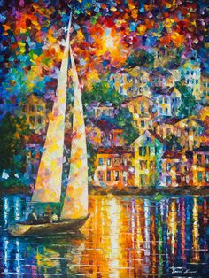 Sailboat Painting Rainbow Wall Art On Canvas By Leonid Afremov