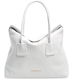 Burberry Women's Grainy Leather Medium Baynard White Tote Handbag