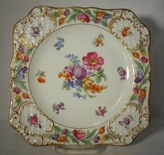 Schumann China Royal Dresdner Art Square Salad Luncheon Plate Open Pink Flower | eBay