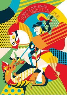 Borogodó é um estúdio e uma loja virtual inspirados em referências tupiniquins. Seus produtos trazem muitas cores, santos, design e brasilidade. Conheça! Arte Pop, Catholic Art, Religious Art, Holy Art, Saint George And The Dragon, Mosaic Crafts, Poster S, Sacred Art, Art And Architecture