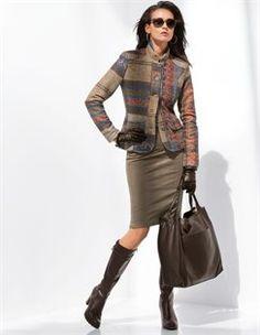 Boots, Blazer, Skirt, Handbag, Sunglasses, Gloves