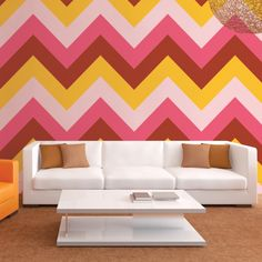 Chevron Cosmo Removable WallPaper is peel and stick. It is the easiest way to decorate any room, nook or cranny. Remove and reuse without a trace.