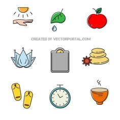 Self-care icons vector pack.