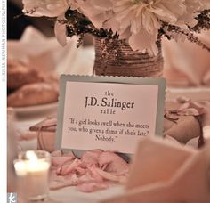 Vintage books and table numbers=authors and quotes. Love it. Also love library card escort cards.