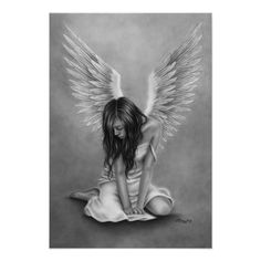 Heartbroken Angel Art Print Glossy Emo Fantasy Girl Zindy Etsy - This Is A Beautiful Print With My Drawing Heartbroken Angel Choose Between Different Sizes And Paper Types The Print Is Done On Canon Photo Paper Ensuring Great Quality And Long Lasting Colo Fantasy Girl, Fantasy Fairies, Angeles, Angel Drawing, Ange Demon, Arte Obscura, Fantasy Kunst, Angels And Demons, Fallen Angel Art